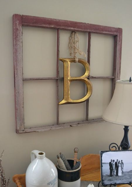 20 Ways To Use Old Windows Letter Wall Decor Window Wall Decor
