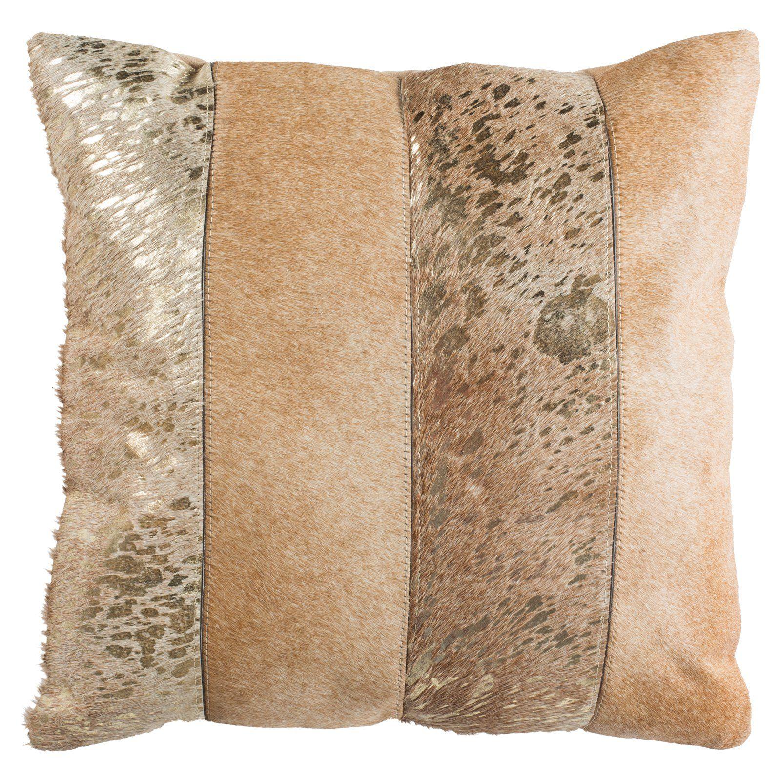 Safavieh Blair Metallic Cowhide Decorative Throw Pillow Grey