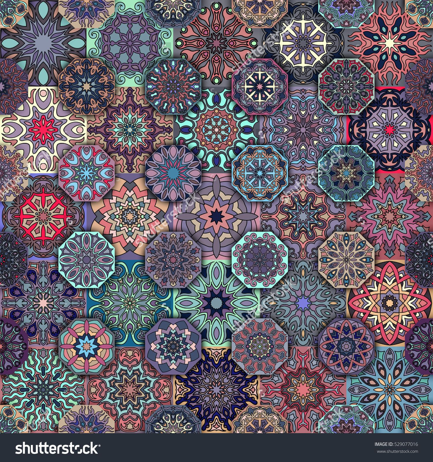 Colorful Vintage Seamless Pattern With Floral And Mandala
