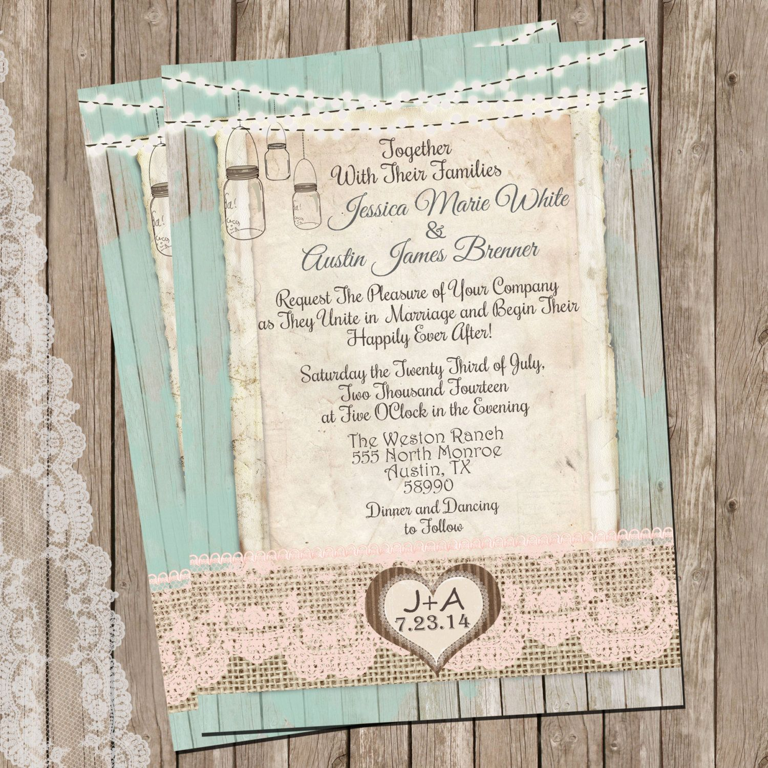 Rustic Wedding Invitation Ideas: Mint And Peach, Burlap And Lace Wedding Invitation, Rustic