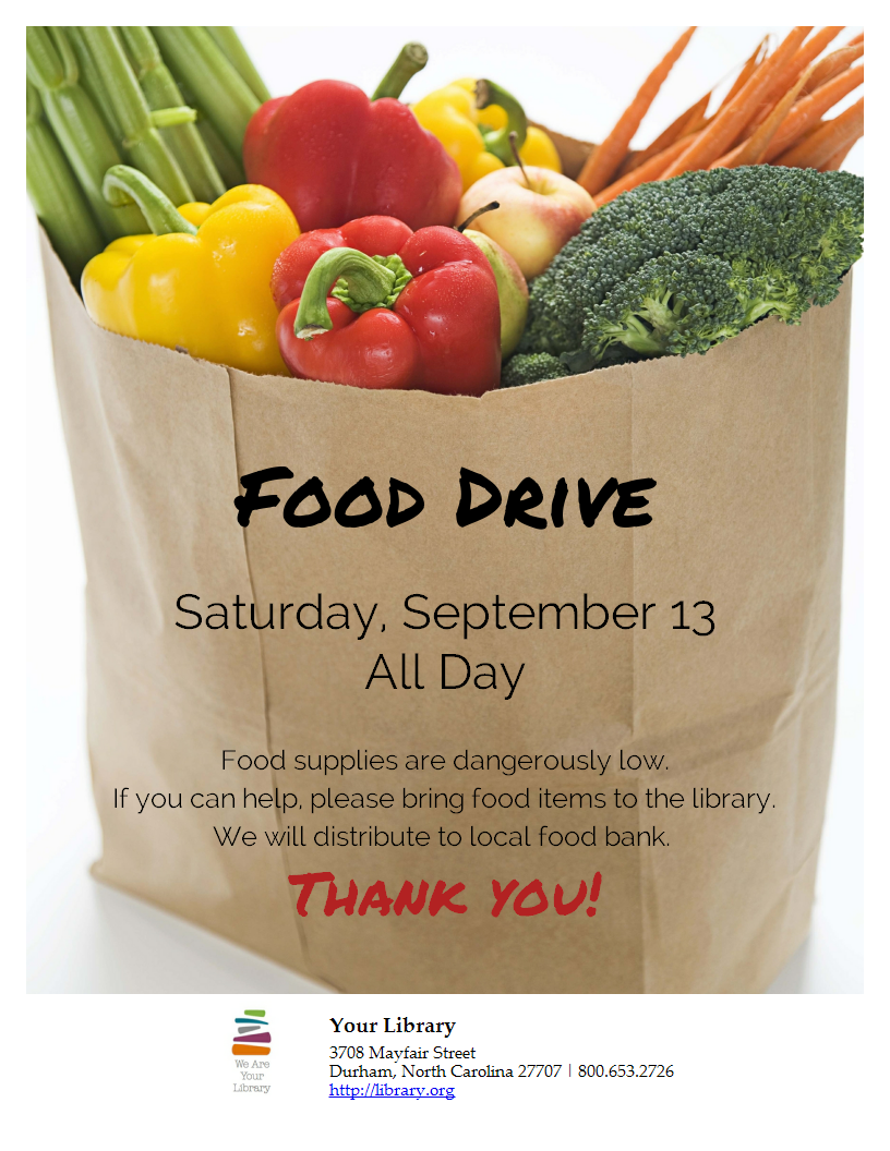 Are you hosting a food drive? Just add your content and