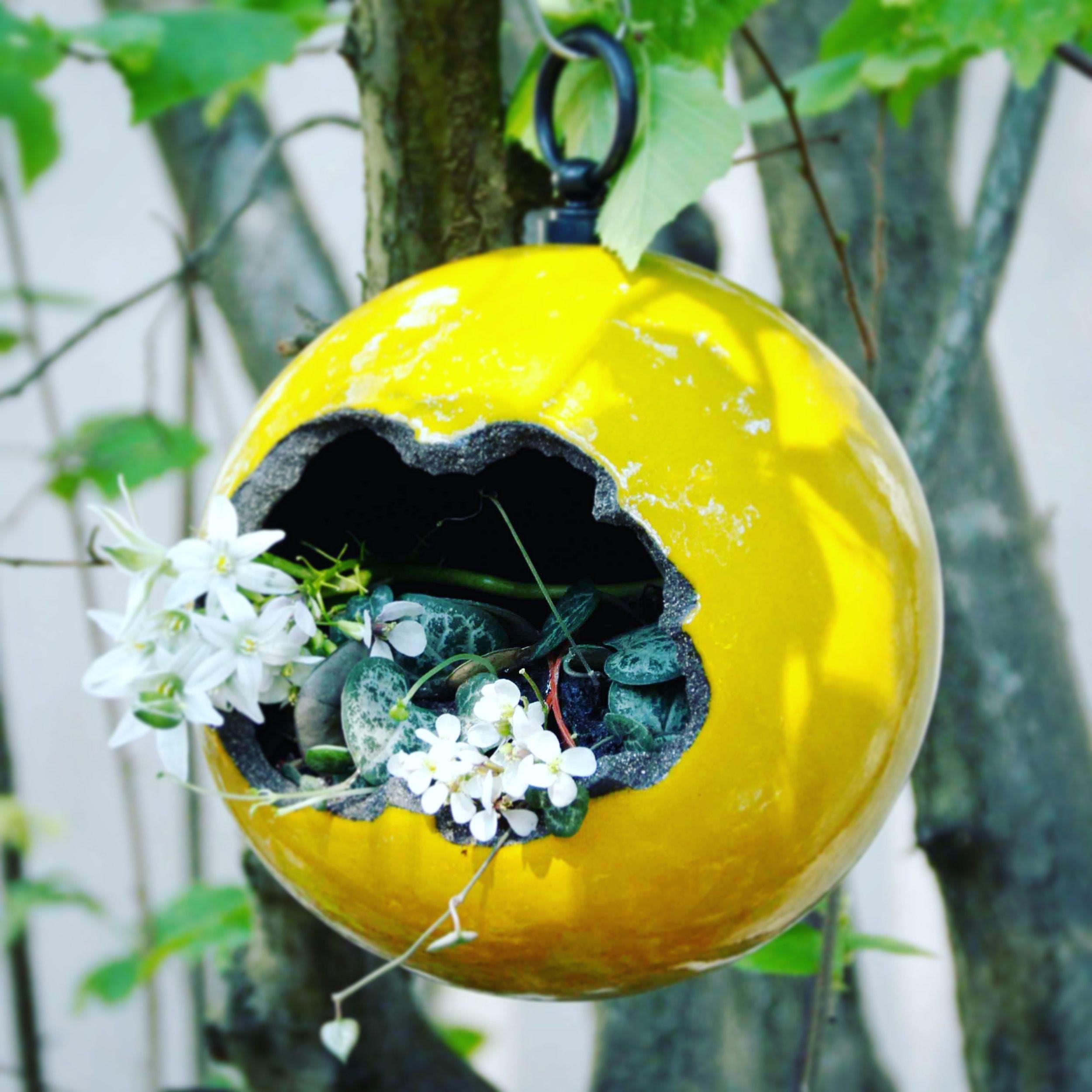 Pot suspendu en céramique, fait main. Décoration jardin. Artisanat ...