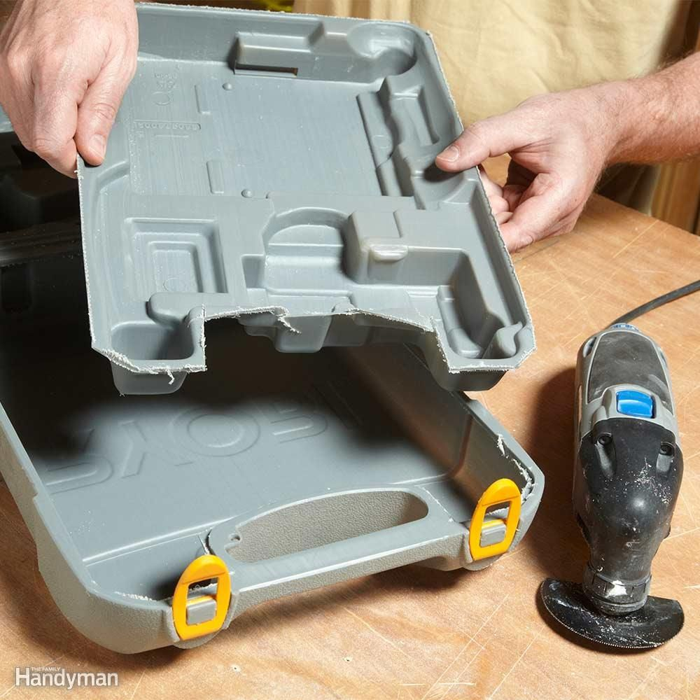 Packing a tool into its molded plastic case can seem like some kind of IQ test. But slice out those form-fitting compartments and the intended tool (or some other power tool) will fit in without all the fuss. An oscillating tool is the perfect surgical instrument.