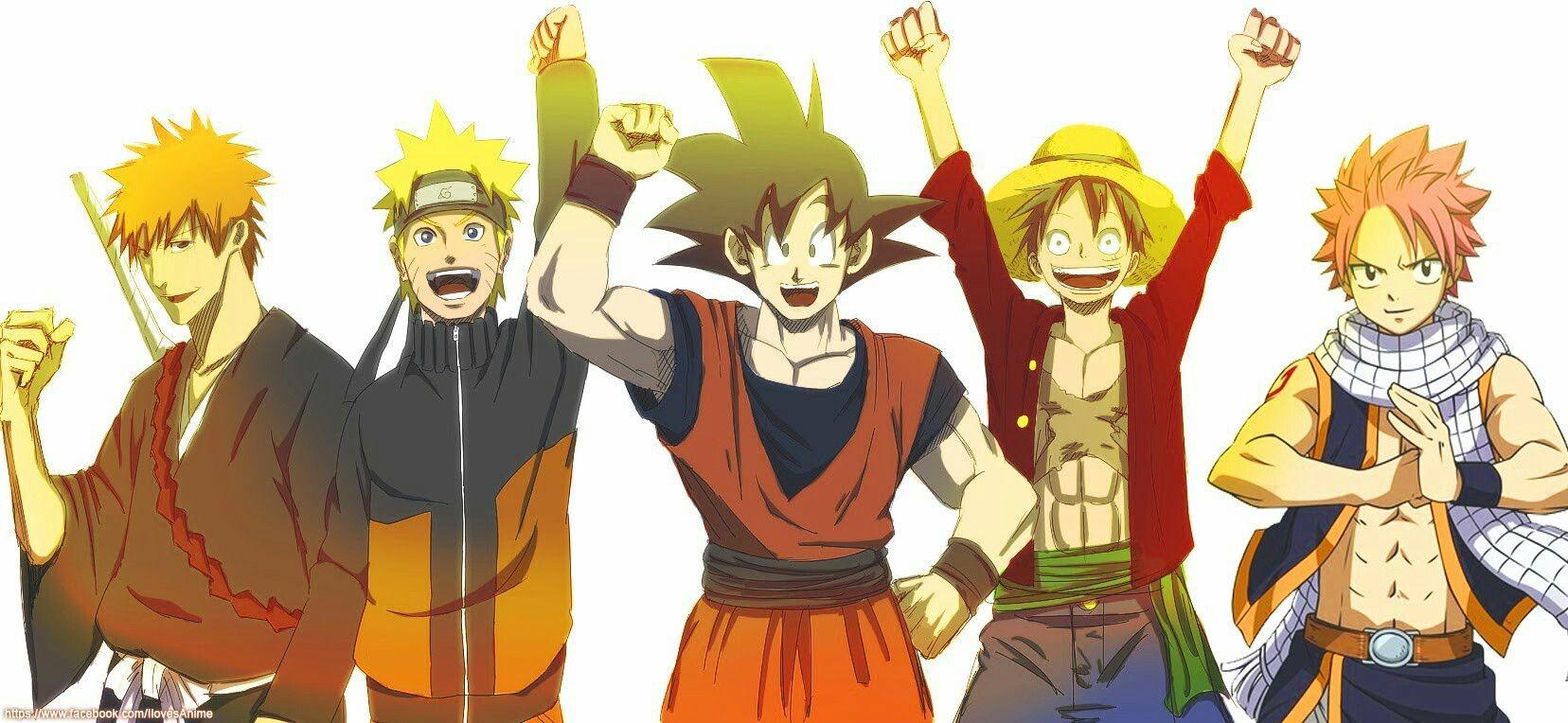 Ichigo Bleach Naruto Goku Dragonball Z Luffy One Piece Natsu Fairy Tail Crossover Anime Anime Crossover Anime Movies Anime Characters