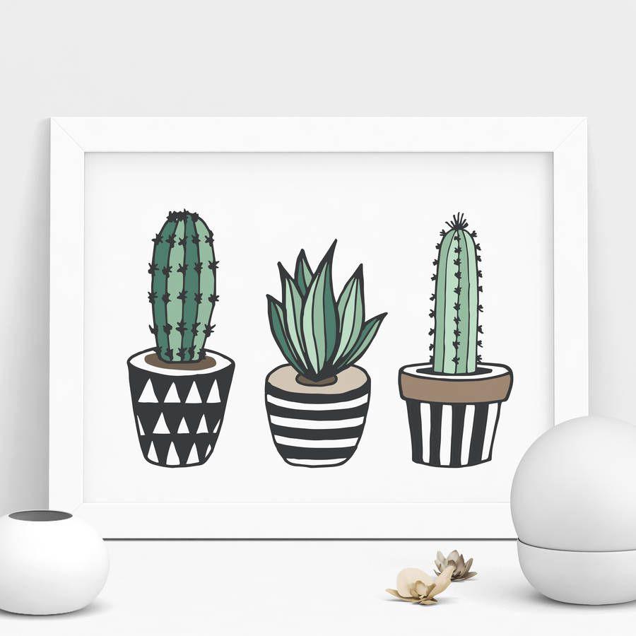 Cactus Print Illustrated Set In Green #cactusplant