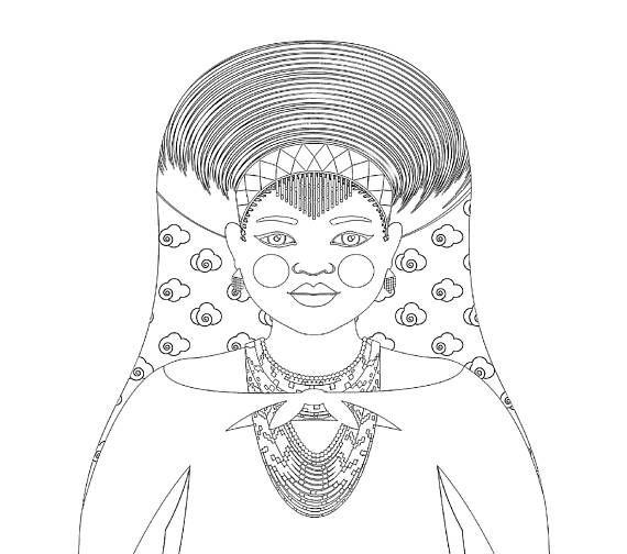 Zulu, South African Matryoshka Coloring Sheet Printable