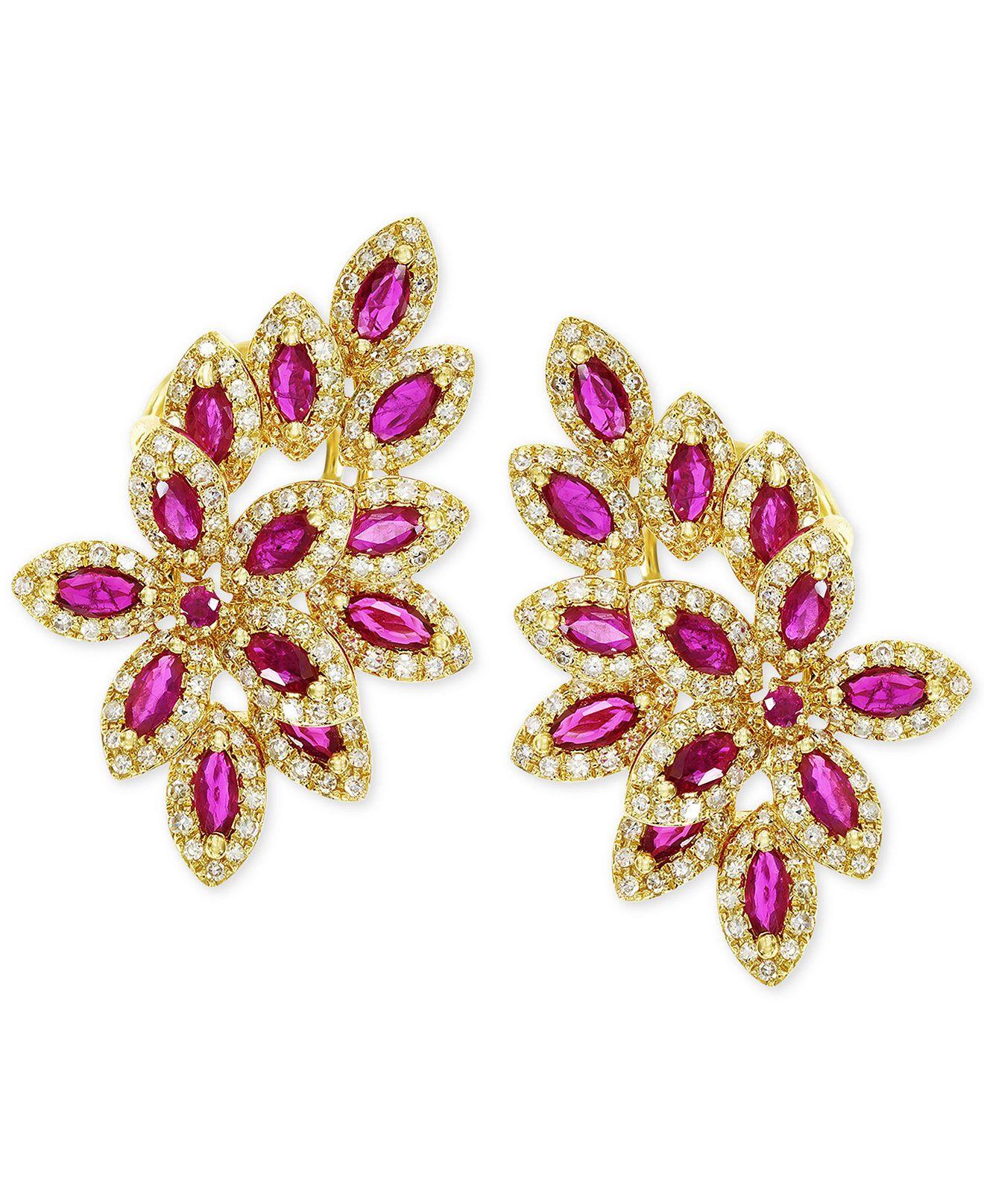 EFFY Ruby (2-1/2 ct. t.w.) and Diamond (1 ct. t.w.) Earrings in 14k Gold - Earrings - Jewelry & Watches - Macy's