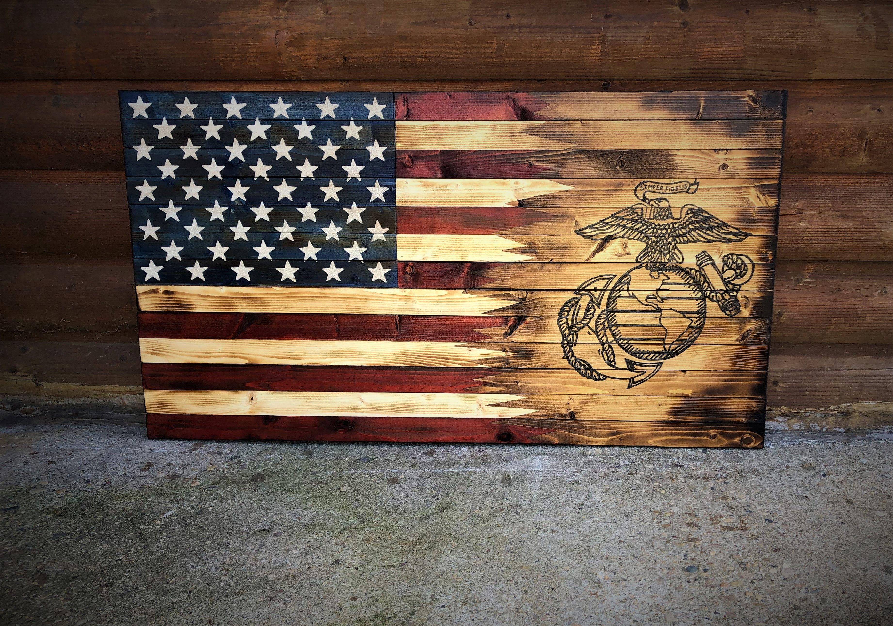 American Marine Wood Flag Wooden Flag American Flag Wood Marine Flag