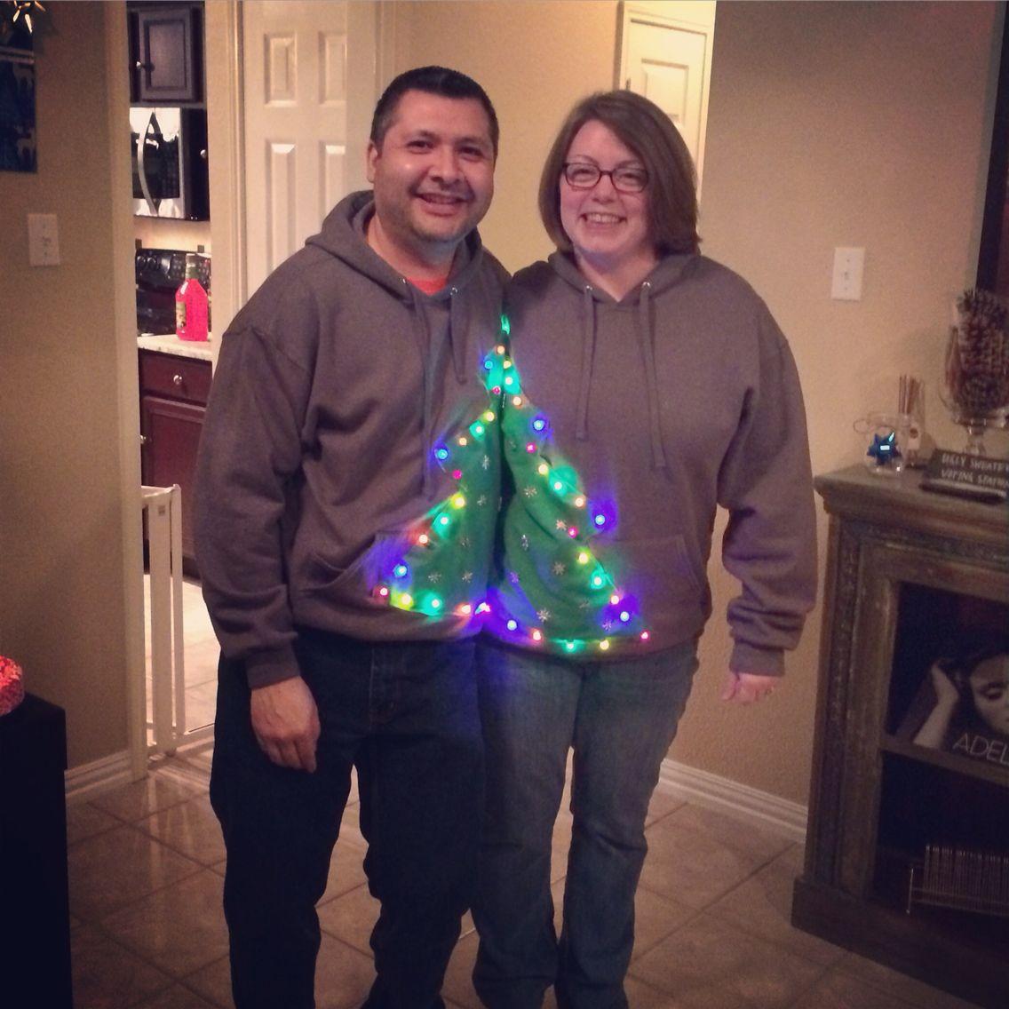 DIY ugly Christmas sweater couple Christmas trees