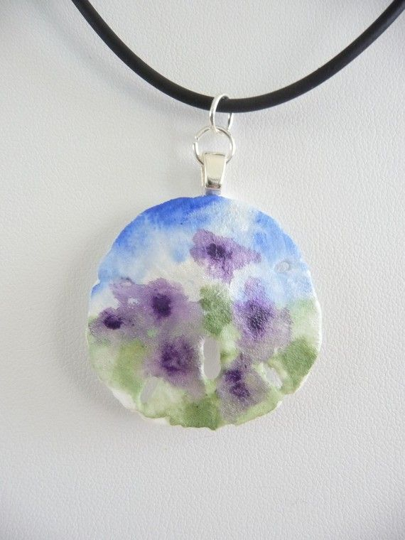 Sand Dollar Pendant  Hand Painted  by Artfulcreations on Etsy, $25.00