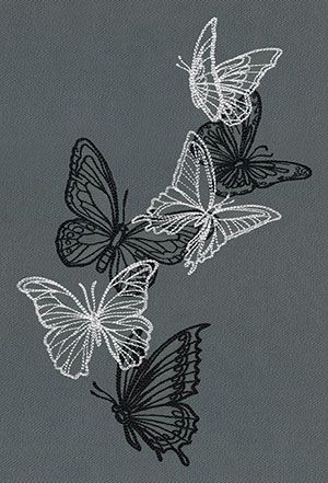Photo of Overlapping butterflies in light and dark threads create dynamic contrast and be…
