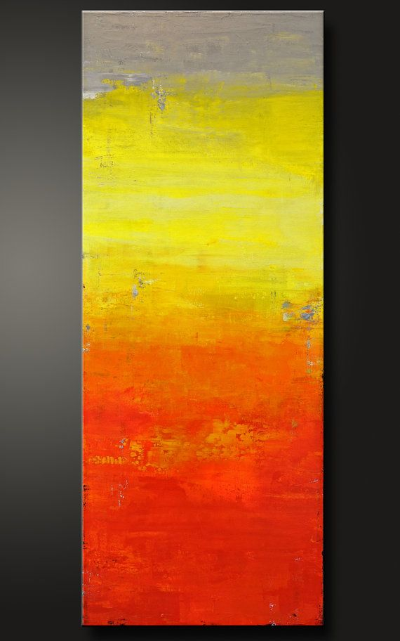 Sunset - 18 x 36 - Abstract Acrylic Painting - Contemporary Wall Art ...