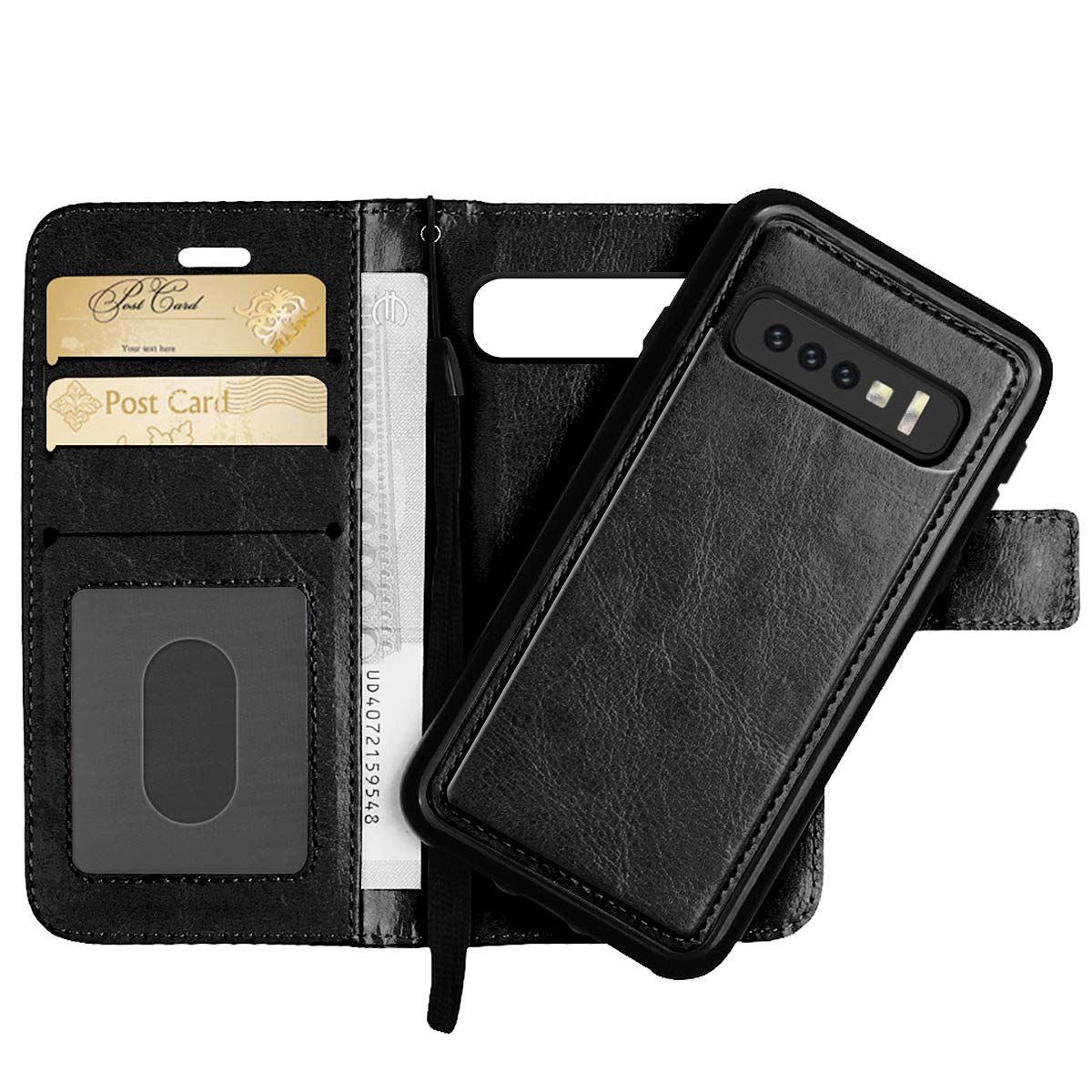 PU Leather Flip Cover Compatible with Samsung Galaxy S10 Plus Elegant Gold Wallet Case for Samsung Galaxy S10 Plus