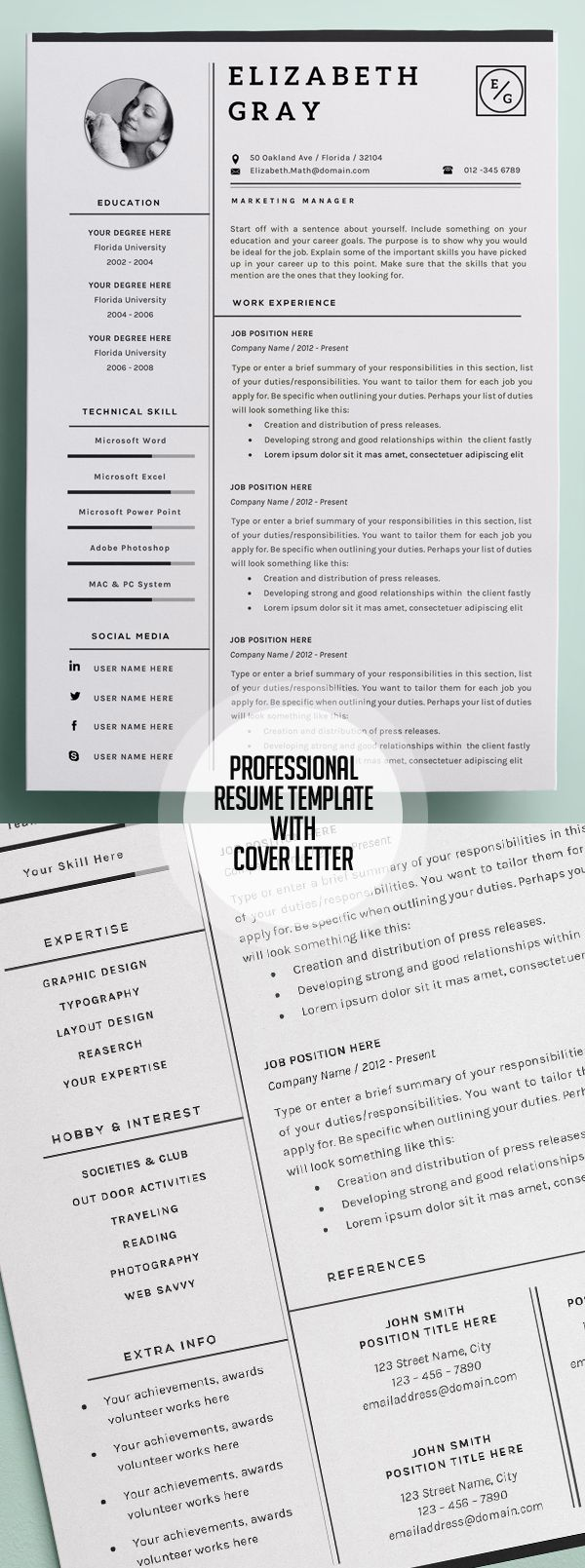 Resume Templates with Cover Letter - Resume design template, Resume template professional, Resume templates, One page resume template, Modern resume template, Cv resume template - Professionally designed and very easy to customize one or two pages resume templates and cover letter + portfolio page  Highquality, creative templates that