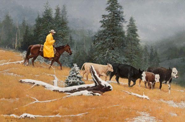 Western Paintings Of Cowboys Yellow Slicker Herding