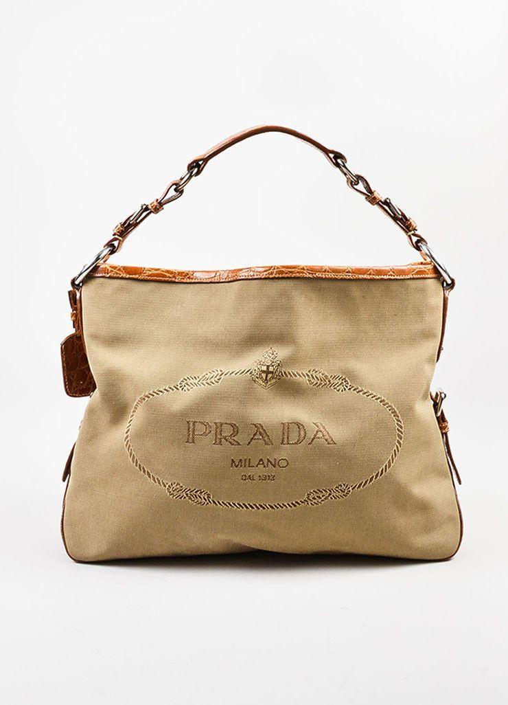 ab6140ec82 Prada Tan and Brown Canvas Crocodile Trim Logo Hobo Shoulder Bag ...