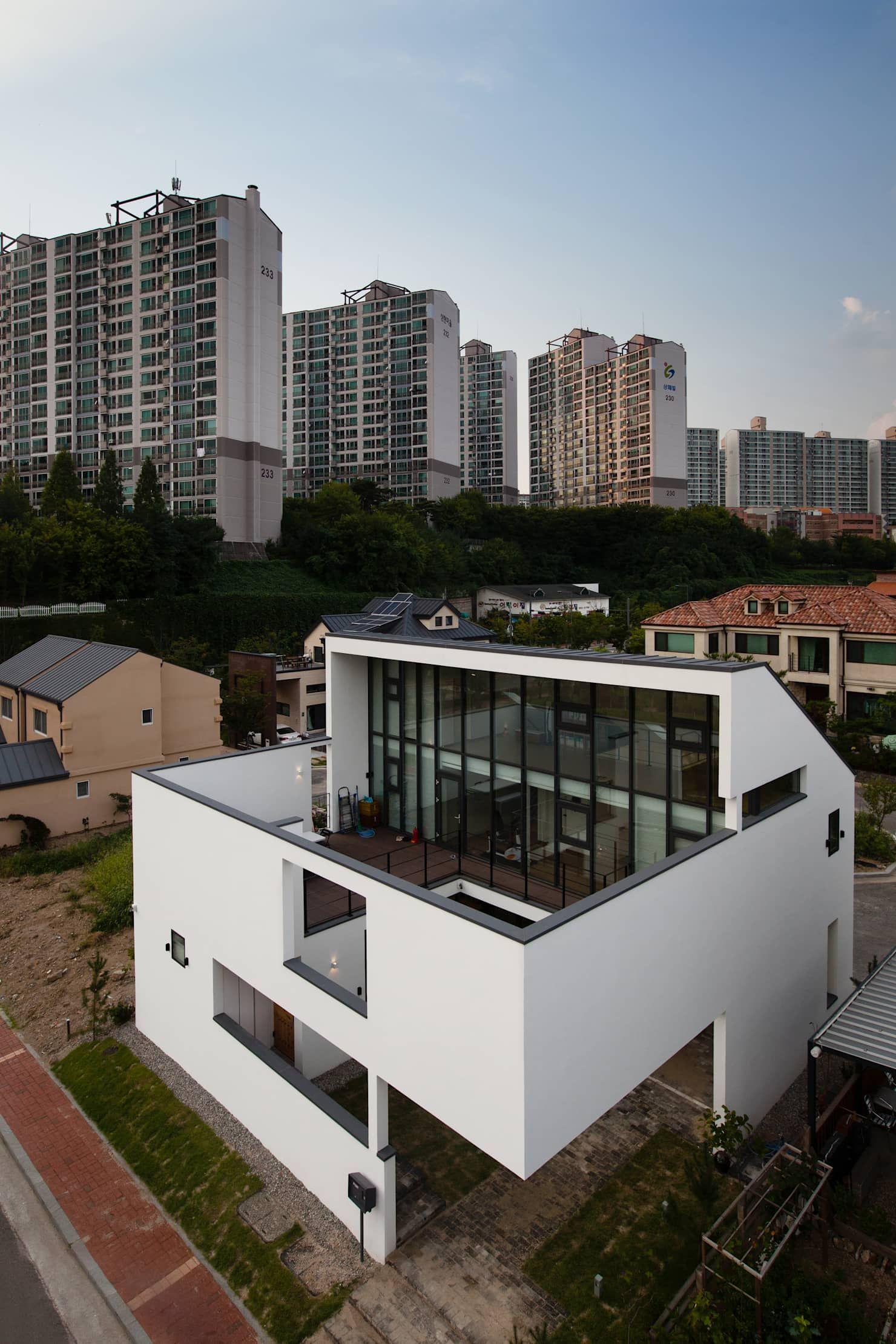House dam moderne häuser von 디자인그룹 콜라보 modern Hauswand