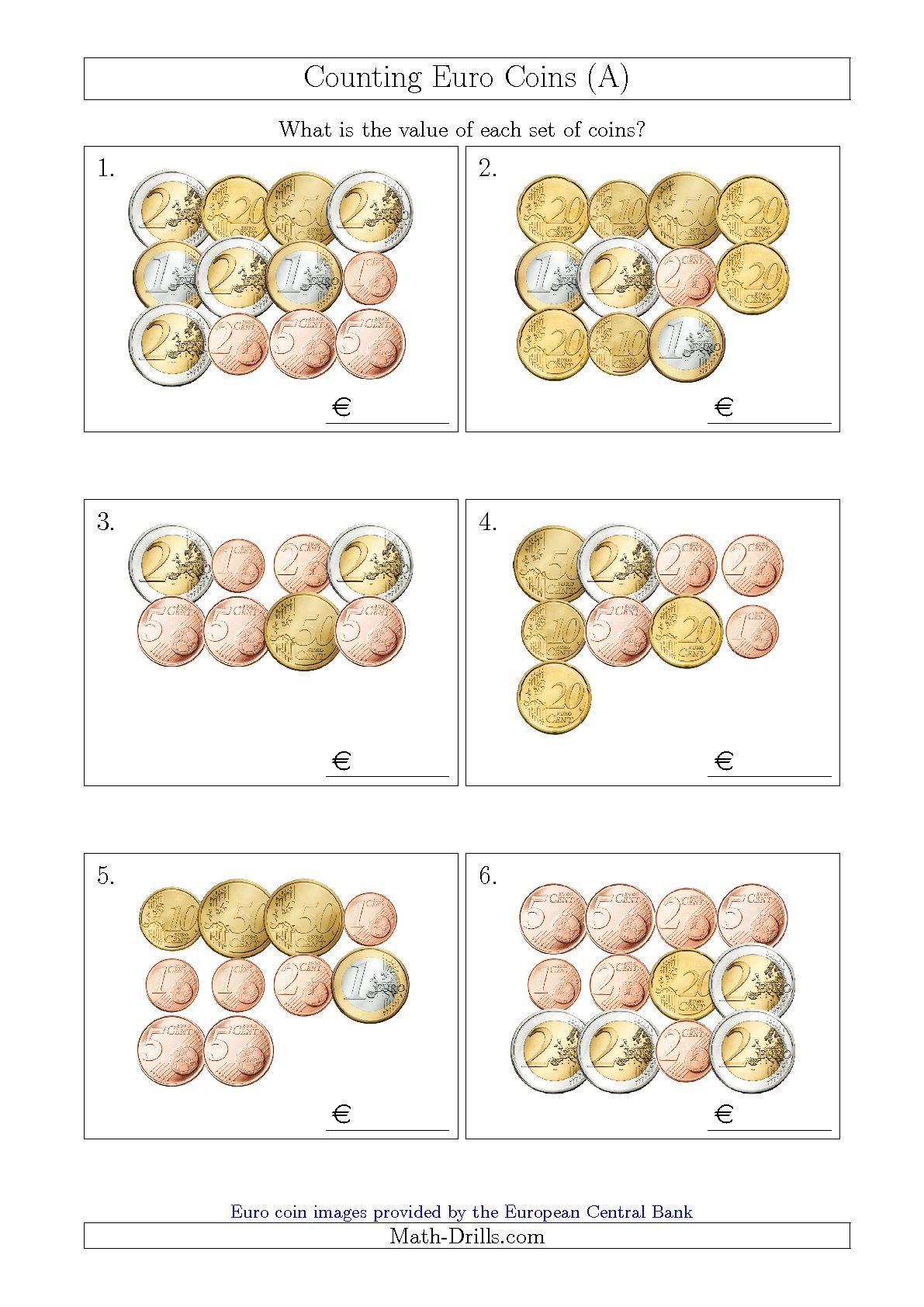 Updated 2015-09-04! Counting Euro Coins (A) Math Worksheet #freemath ...