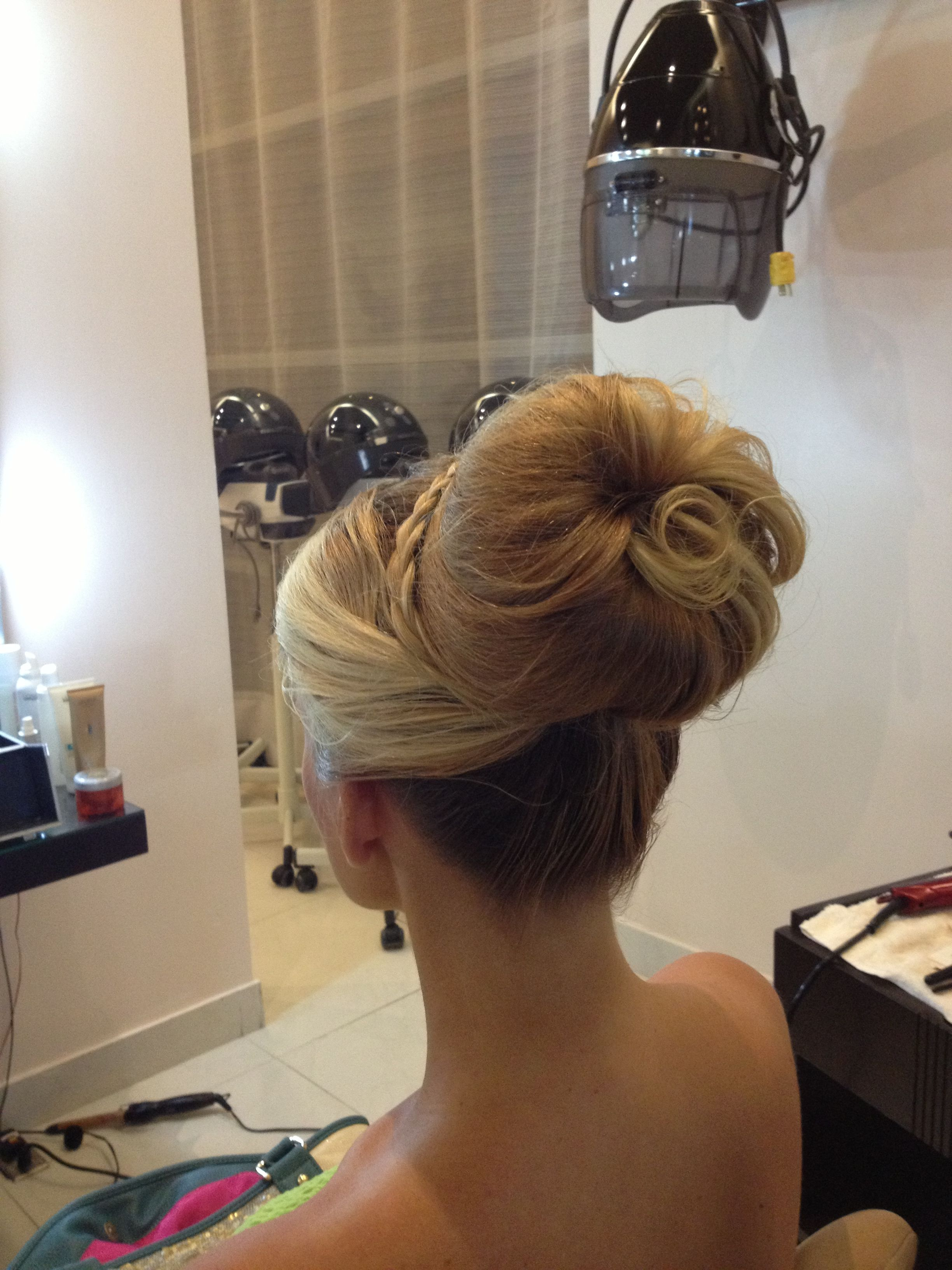 up do. beach wedding. big bun. blonde. wedding hair