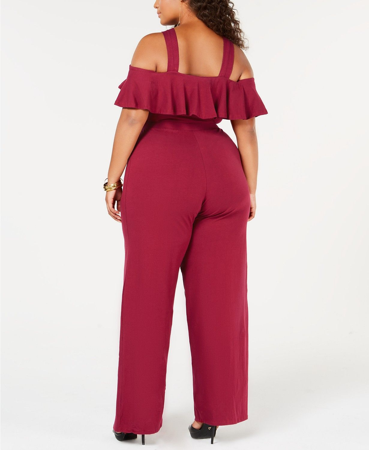 c74b4e313cd Rebdolls Ruffled Cold Shoulder Plus Size Jumpsuit from The Workshop at  Macy s - Jumpsuits   Rompers