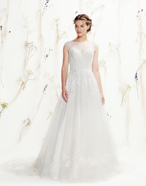 The illusion and beaded tulle Sabrina neckline, dropped waistline ...