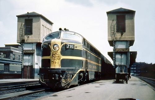 New Haven DER-4 FM (C-Liner) CPA-24-5 locomotive # 791, seen with a southwestbound passenger train at Springfield Union Station, Massachusetts, mid 1950's, Mac Seabree Collection