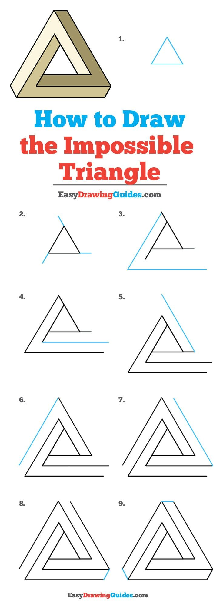 How To Draw The Impossible Triangle Really Easy Drawing Tutorial