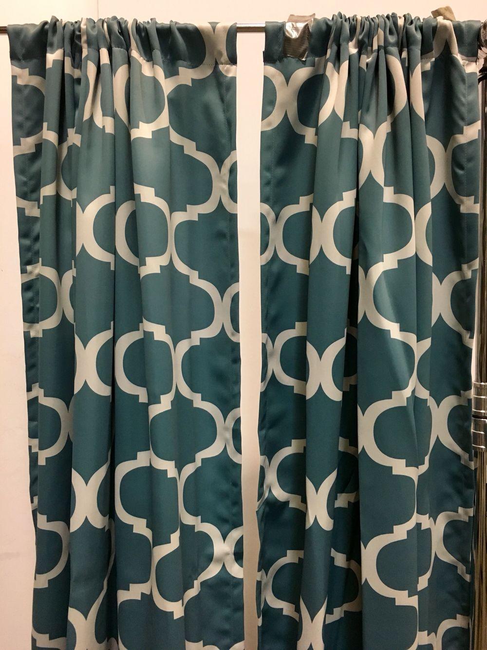 teal geometric curtain panels x2