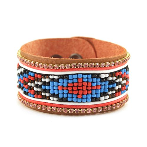 Sam Moon Beaded Leather Strap Bracelet $4