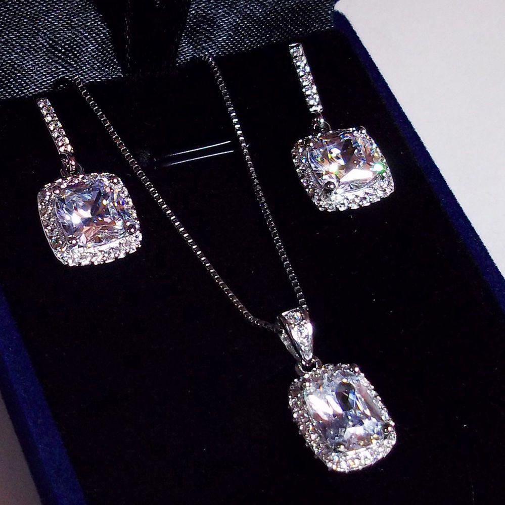 Diamond 4 04ct Necklace Earrings Set