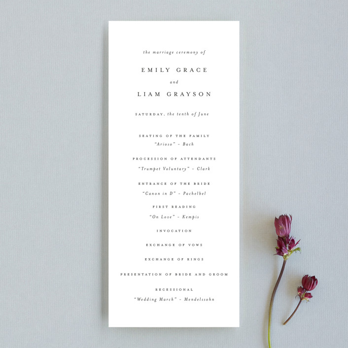 A Thousand Years Unique Wedding Programs In Classic White By Design Lotus