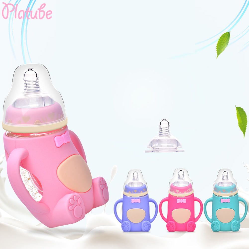 Newborn Baby Cute Bear Feeding Bottle Silicone Anti-Colic Glass Milk Bottle 9L