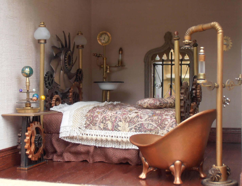 Steampunk miniature bedroom www.theminiaturemaker.co.uk