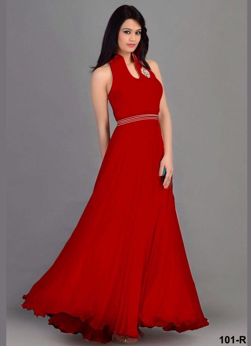 Latest New Designer Long Red Party Wear Gown-GWN103-101-R - Online ...