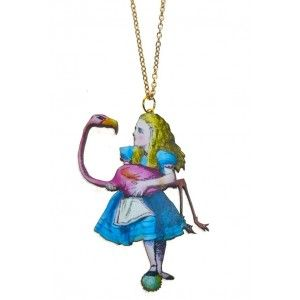 Alice and flamingo necklace