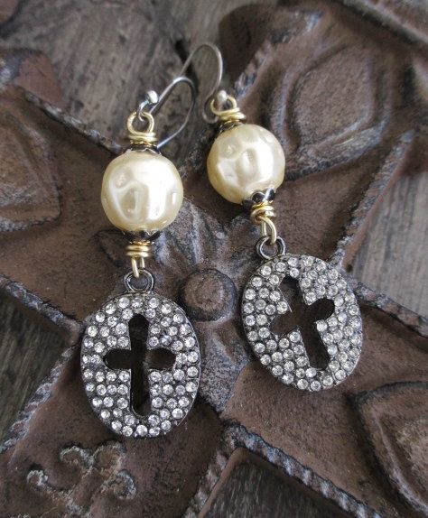 Cross earrings  Blessings  large pearl dangle by slashKnots