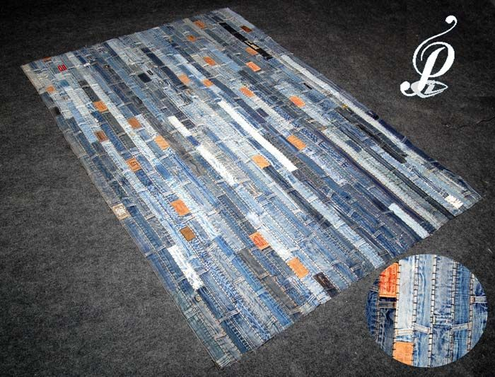Recycled Denim Rugs,Recycle Denim Patches Rug,Denim Recycled Rug Exporters  & Suppliers - Home Furnishing Made-ups, Living, Kitchen & Dining, Bath, Rugs