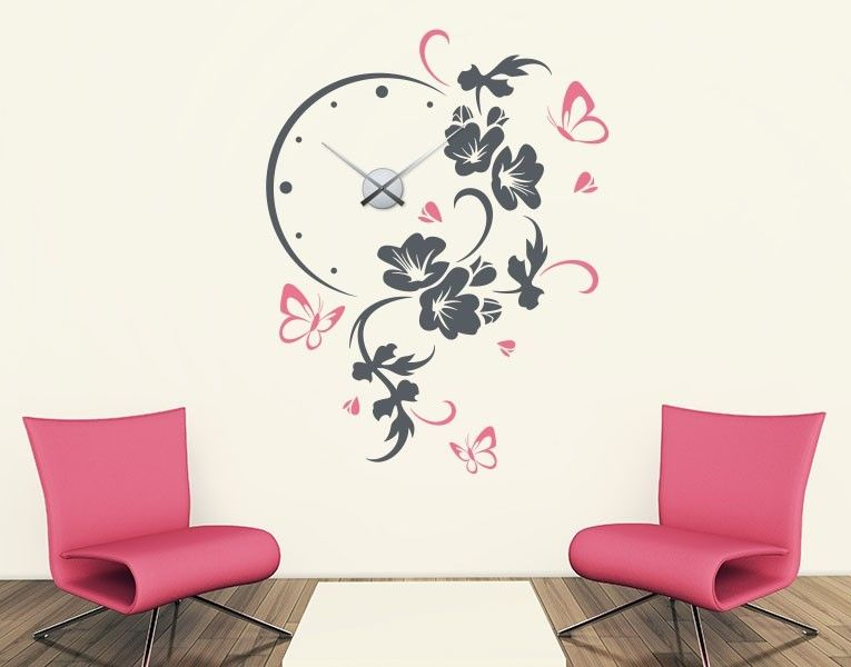 wandtattoo uhr bl tenranke mit schmetterlingen flower power blumen wohnideen mit wandtattoos. Black Bedroom Furniture Sets. Home Design Ideas