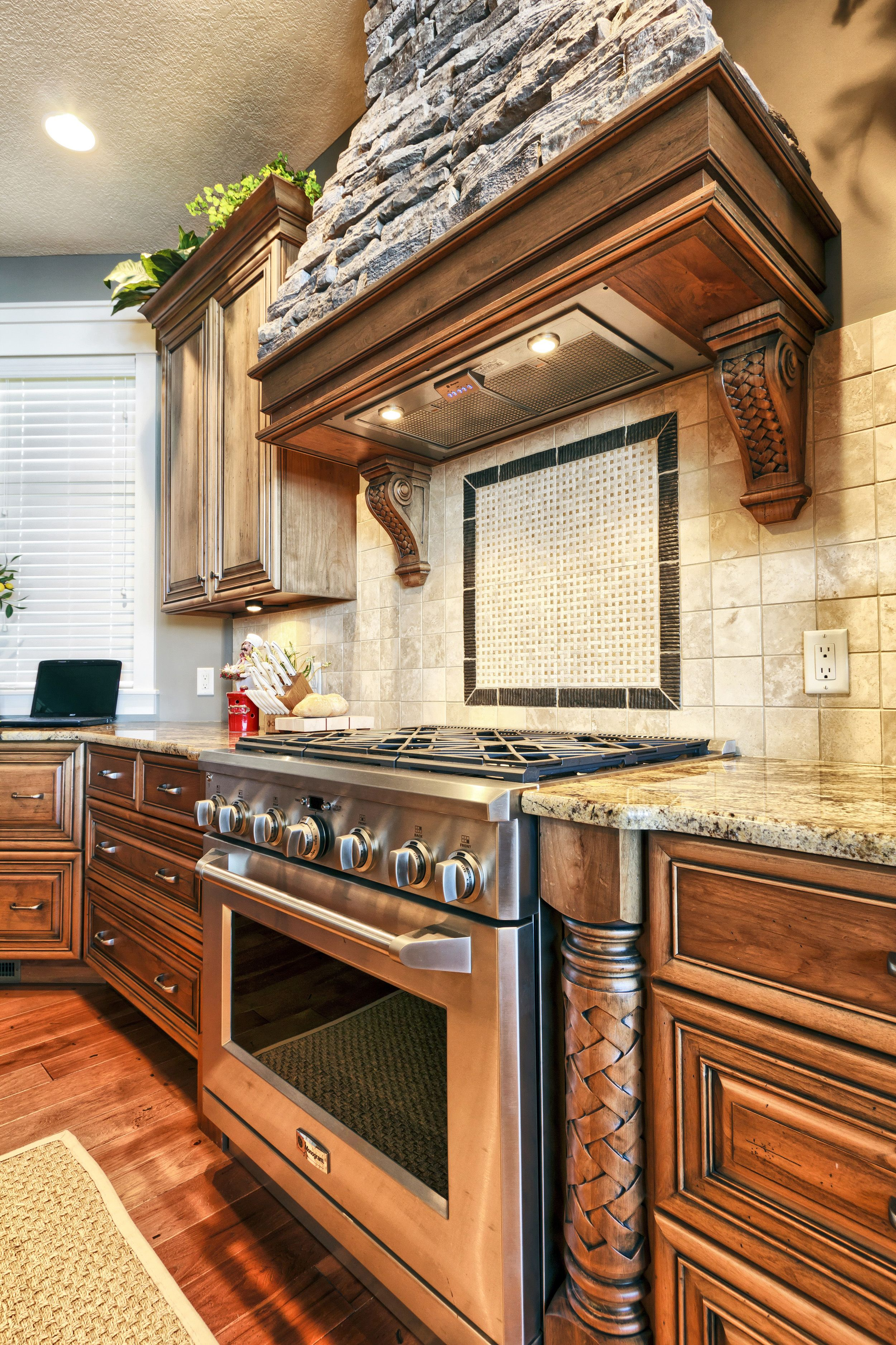 Best Stacked Stone Range Hood High End Kitchen Cabinets High 400 x 300