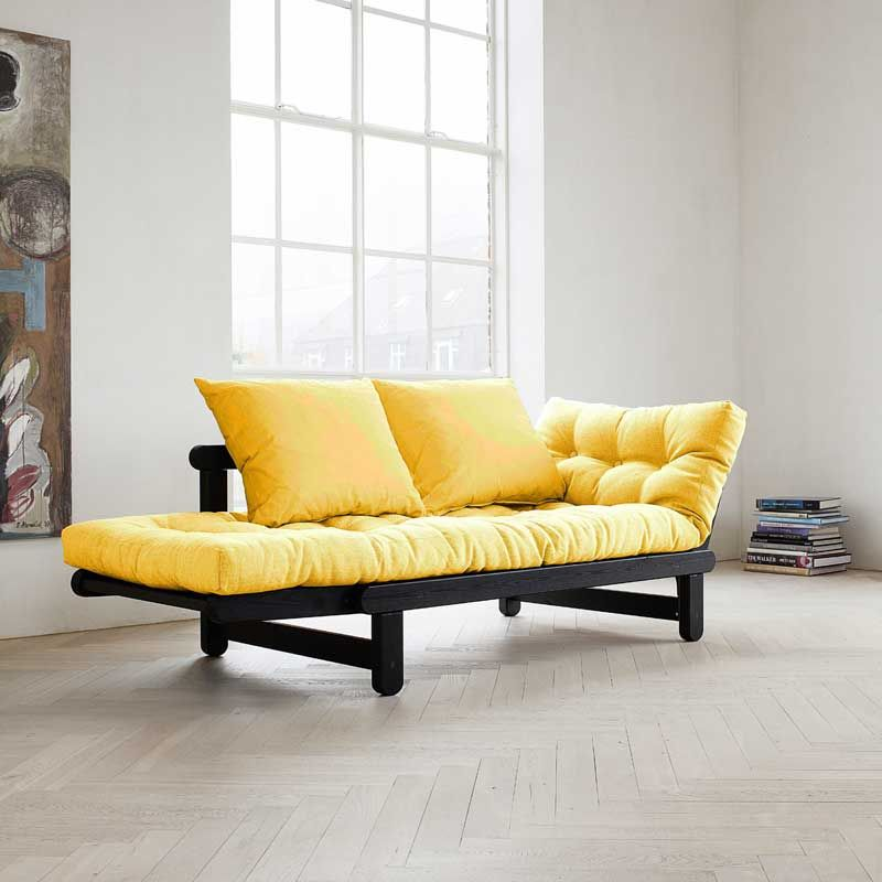 BEAT is a two-seater sofa which can be transformed in bed or chaise longue,  either side of the sofa : BEAT can be transformed in a few seconds! The