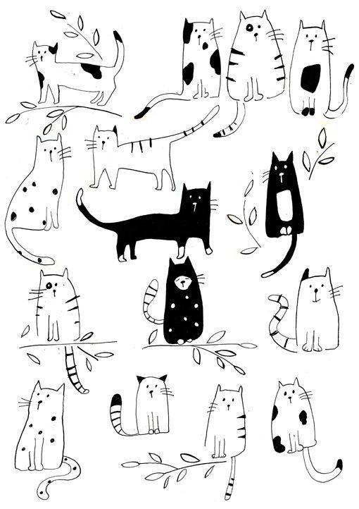 Lisa Buckridge Muster Schwarz Und Weiss Katzen In Hulle Und Fulle