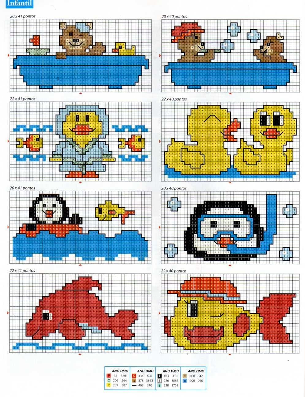 Cross stitch ( penguin , duck ,Fish )