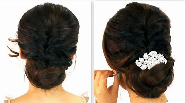 Bun Hairstyle With Saree For Short Hair Indian Wedding Hairstyles Short Hair Styles Short Wedding Hair