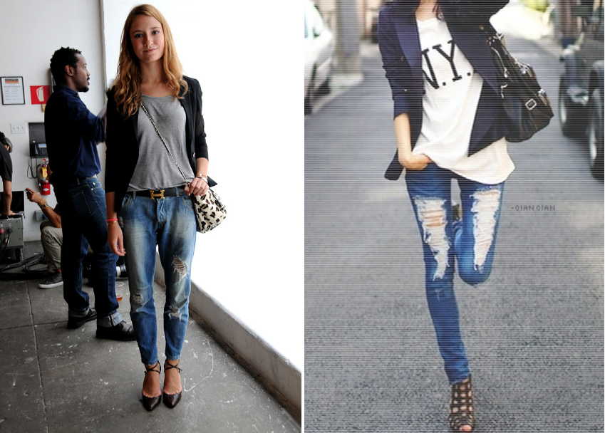 7697c8d8c1d7 how to wear a blazer style lena penteado ripped jeans and tee ...