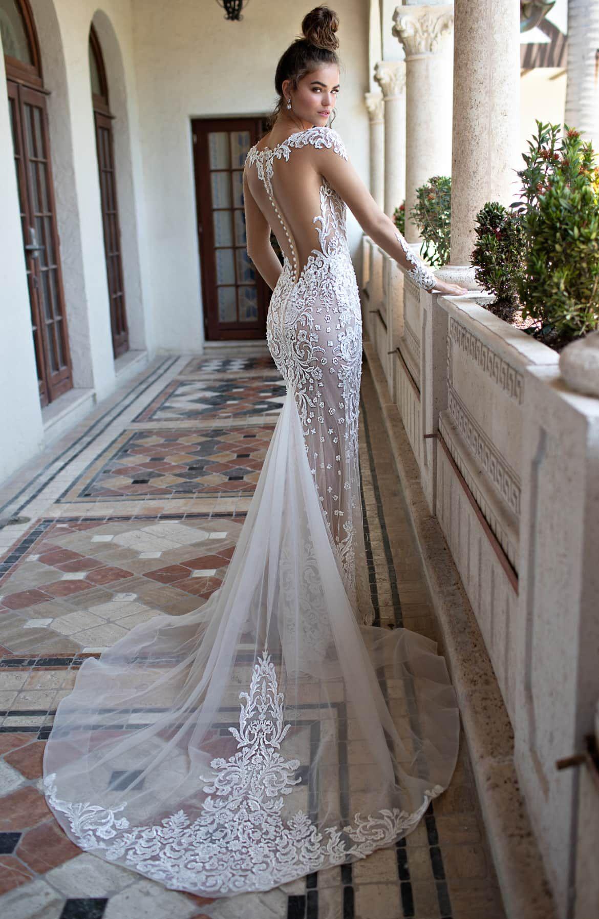 Berta Illusion Long Sleeve Embroidered Trumpet Wedding Dress Nordstrom Mermaid Wedding Dress With Sleeves Wedding Dress Necklines Sheer Wedding Dress