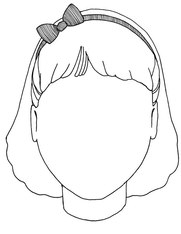Girl Blank Type Of Face Coloring Page Coloring Sun Face Template Coloring Pages All About Me Preschool