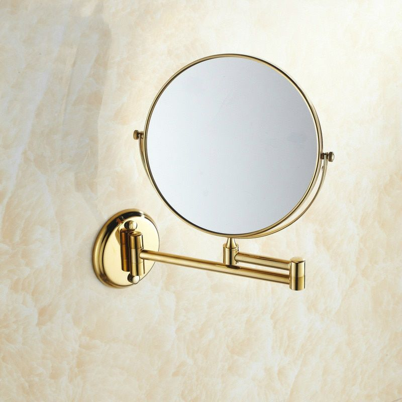 Photo of Double Side Bathroom Folding Brass Shave Makeup Mirror Gold Plated Wall Mounted Dual Arm Extend Bath