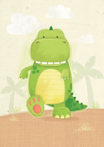 Sarah Ward Illustration - greetings cards, sarah ward, sarah, ward, novelty, picture book, digital, young, sweet, commercial, educational, activity, dinosaur, trees, colour, colourful, YA, young readers, clouds #dinosaurillustration