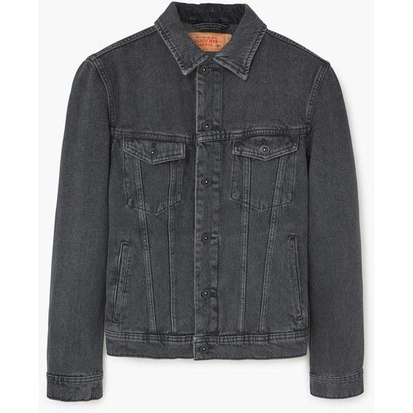 MANGO MAN Black denim jacket ($50) ❤ liked on Polyvore featuring men's fashion, men's clothing, men's outerwear, men's jackets, mens denim jacket, mens distressed denim jacket and mens distressed leather jacket