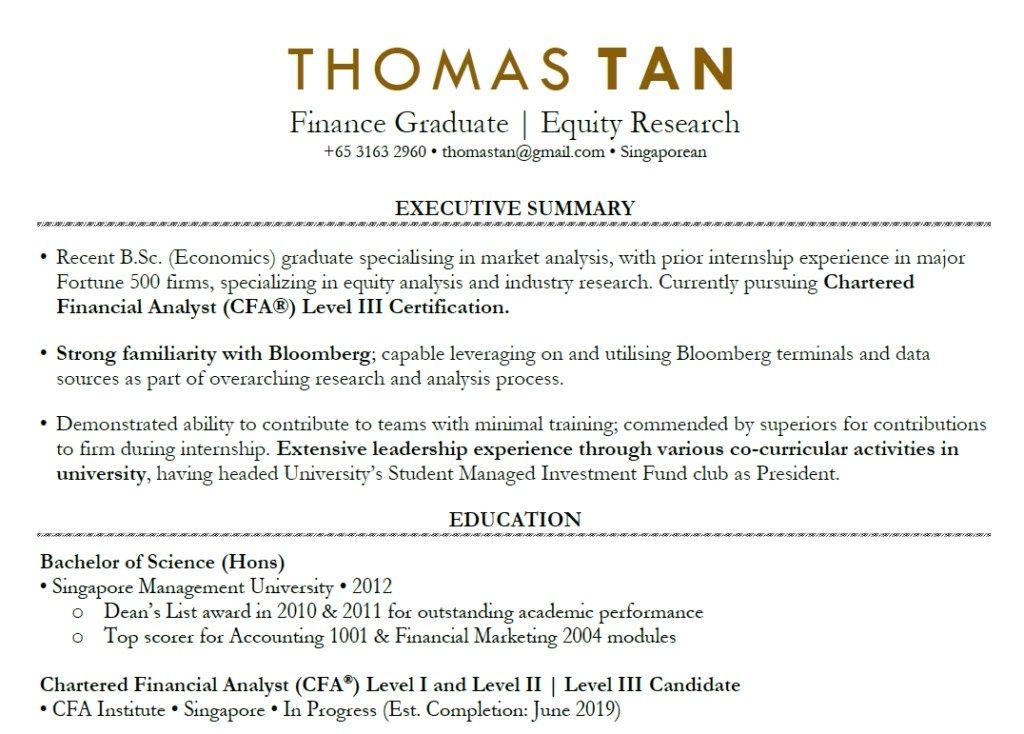 Fresh Graduate Resume Sample Singapore Cv Template Cv Template Cv Template Word Cv Design Template